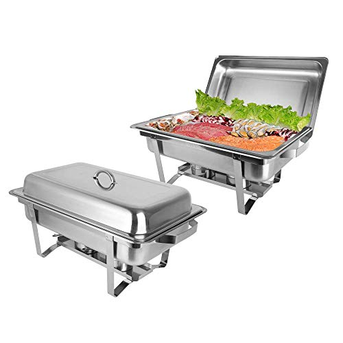 ROVSUN 8 Qt 2 Pack Full Size Upgraded Stainless Steel Chafing Dishes Buffet Silver Rectangular Catering Chafer Warmer Set with Trays Pan Lid Frame Stand for Kitchen Party Banquet Dining