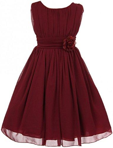 Little Girls Elegant Yoryu Wrinkled Chiffon Summer Flowers Girls Dresses Burgundy 6 G35G34]()