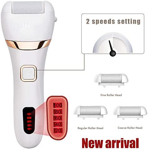 Electric Callus Remover, Rechargeable Foot File Hard Skin Remover Pedicure Tools for Feet Electronic Callus Shaver Waterproof Pedicure kit for Cracked Heels and Dead Skin with 3 Coarse Roller Heads