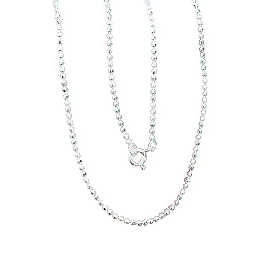 Brand New 925 Stering Silver Bead Round Ball Facet Cut Link Chain 1.4 mm. x 16