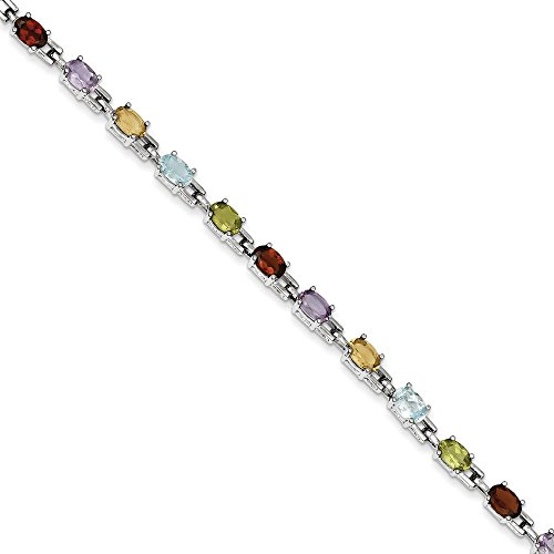 Argent sterling 17,8cm arc-en-ciel-Bracelet pierres semi-précieuses-Fermoir