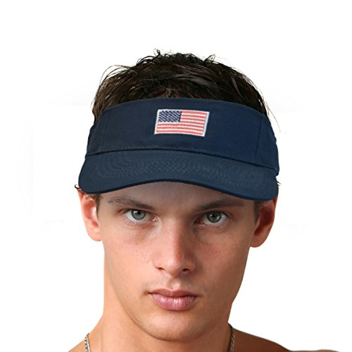(KC Caps Unisex Cotton Twill Velcro Adjustable USA Flag Embroidered Visor)