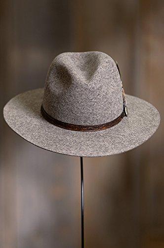 Overland Sheepskin Co. Messenger Bolivian Wool Felt Outback Hat, Brindle MIX, Size 7 3/8 by Overland Sheepskin Co (Image #5)