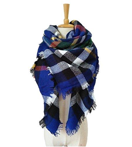 gusuqing Women's Tassels Soft Plaid Scarf Winter Large Blanket Wrap Shawl Small Grid A18 Royal (Stylish Wrap)