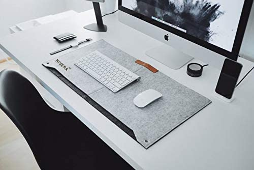 NIVERA® Large PU Felt Laptop Desk Mate, Extended Gaming Mouse, Keyboard Pad, Desk Mat for Office, with Pen & Paper Pocket (Grey)