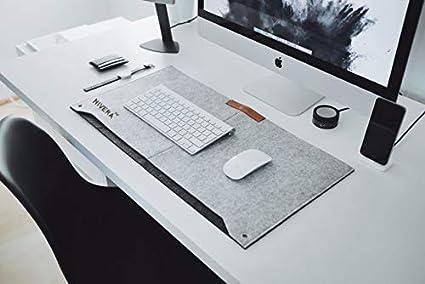f21f9e95dff4 NIVERA® Large PU Felt Laptop Desk Mate, Extended Gaming Mouse, Keyboard  Pad, Desk Mat for Office, with Pen & Paper Pocket (Grey)