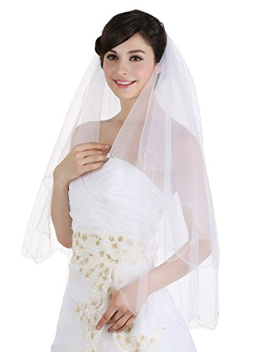 2T 2 Tier Scallop Edge Dangle Crystals Veil - Ivory Fingertip Length 36