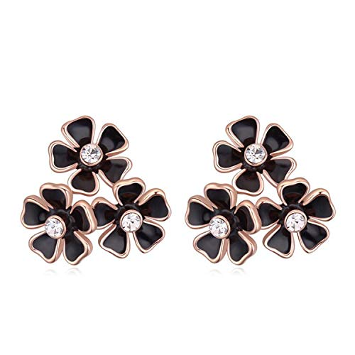 (2017 Flower Stud Earrings Oil Drip Crystals from Austria for Women Bohemian Accessories)