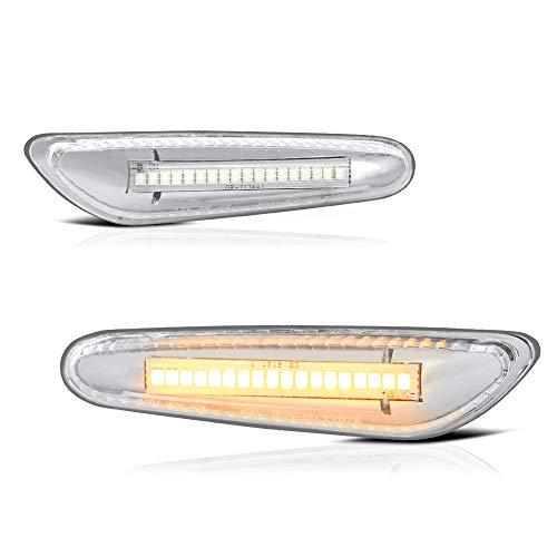 VIPMOTOZ Full LED Front Fender Side Marker Light Turn Signal Lamp Assembly Replacement For BMW E82 E88 E90 E91 E92 E93 E60 E61 E83-6000K Diamond White, Driver & Passenger Side