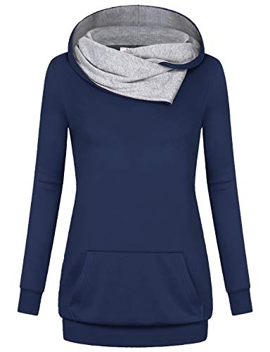 Miusey Cowl Neck Hoodie, Womens Long Sleevees Plus Size Loose Fitting Leisure Slouchy Sweatshirts Medesty Panel Maternity Roomy Figure Winter Outwear Navy Blue XXL