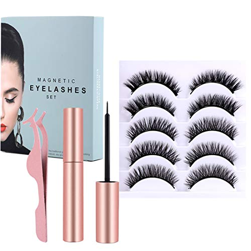 Magnetic Eyelashes and Eyeliner Kit, 5 Pairs of Natural Soft False Eyelashes And Delicate Smooth Eyeliner, Thick Curly Lashes with Waterproof Texture, Easy to Wear and Reusable.