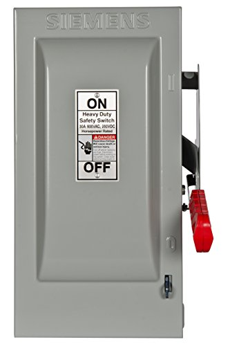 600v Safety Switch - Siemens HF361N 30-Amp 3 Pole 600-volt 4 Wire Fused Heavy Duty Safety Switches