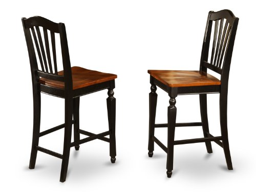 East West Furniture CHS-BLK-W Stool Set with Wood Seat, Black and cherry Finish, Set of 2
