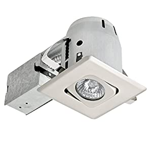 """4"""" Dimmable Downlight Swivel Spotlight Recessed Lighting Kit, Easy Install Push-N-Click Clips, (1-Pack), Brushed Nickel Square Trim, Globe Electric 90039"""