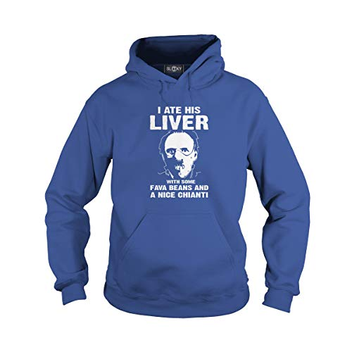 Mens Hoodie Silence - Unisex I Ate His Liver with Some Beans and A Nice Chianti (L, Royal Blue)
