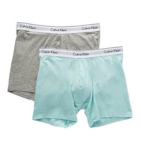 Calvin Klein Men's Underwear Modern Cotton Stretch Boxer Briefs, Keppel/Heather Grey, Medium