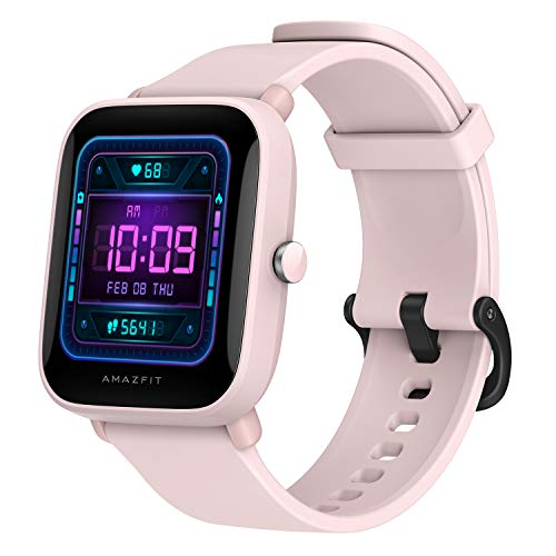 """Amazfit Bip U Pro Smart Watch with Built-in GPS, 9-Day Battery Life, Fitness Tracker, Blood Oxygen, Heart Rate, Sleep, Stress Monitor, 60+ Sports Modes, 1.43"""" Large HD Display, Water Resistant (Pink)"""