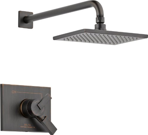 Delta Faucet Vero 17 Series Dual-Function Shower Trim Kit with Single-Spray Touch-Clean Rain Shower Head, Venetian Bronze T17253-RB (Valve Not Included)