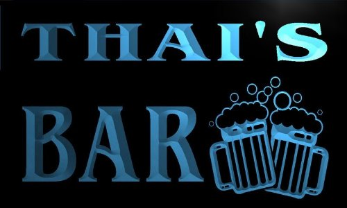 w003864-b THAI'S Name Home Bar Pub Beer Mugs Cheers Neon Light Sign by AdvPro Name