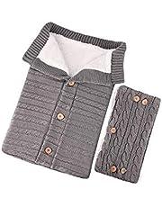 Babysovsäck Befitery stickad baby filt linda barnvagn sovsäck handskar set av lammull med knappar för 0–12 månader baby