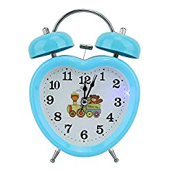 AUNMAS Blue Alarm Clock Retro Heart-Shaped Night Luminous Clock Double Twin Bell Clock for Bedrooms Time Management Heavy Sleepers