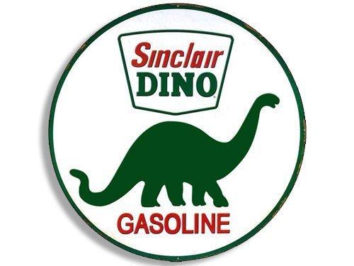Vintage Flag Round Sticker - GHaynes Distributing Round Vintage SINCLAIR DINO Gas Sticker Decal (gasoline logo old rat rod) 4 x 4 inch