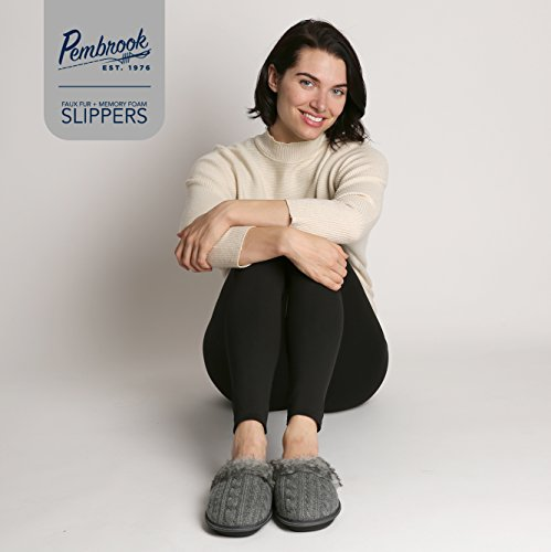 Pembrook Ladies Faux Fur + Cable Knit Slippers – Gray, Large - Comfortable Memory Foam Indoor and Outdoor Non-Skid Sole - Great Plush Slip on House Shoes for adults, women, girls by Pembrook (Image #7)'