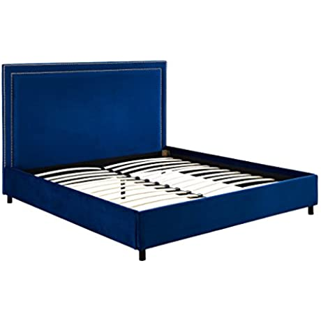 TOV Furniture The Reed Collection Contemporary Style Velvet Upholstered Platform Bed With Nailhead Trim Full Sized Navy