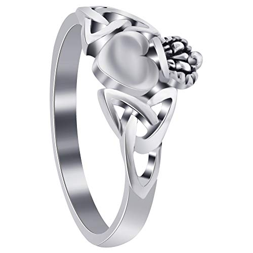 (Gem Avenue 925 Sterling Silver Celtic Knot Friendship and Love Heart Irish Claddagh Ring Size 6)