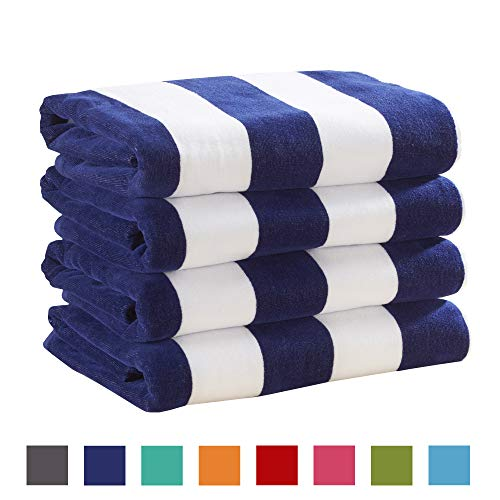Great Bay Home 4 Pack Plush Velour 100% Cotton Beach Towels. Cabana Stripe Pool Towels for Adults. (Navy, 4 Pack- 30 x 60)