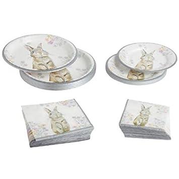 Cottontail Metallic Easter Bunny Paper Plates and Napkins Bundle Serves 18 /Napkins 36  sc 1 st  Amazon.com & Amazon.com: Cottontail Metallic Easter Bunny Paper Plates and ...