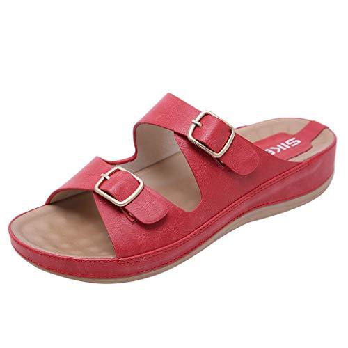 Pantofole Delle Red Dimensioni Basse Pelle Piattaforma Da On Grandi Estate Sandali Incinte Donna In Confortevole fibbia Slip Donne Metallo Eleganti Scarpe Casuali Spiaggia fqaZfB