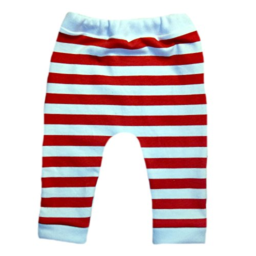 Jacqui's Unisex Baby Red and White Striped Leggings, 6-12 -