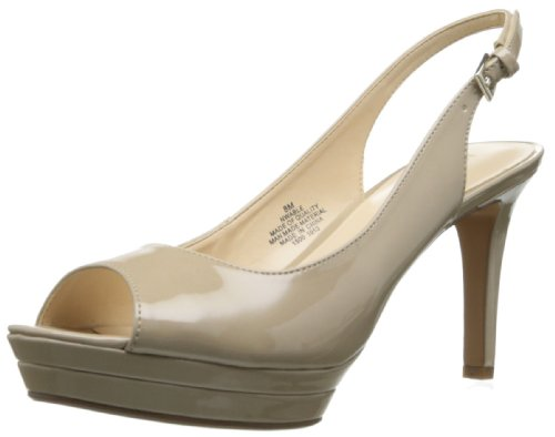 Nine West Women's Able Synthetic Platform Pump,Patent Taupe,8 M US