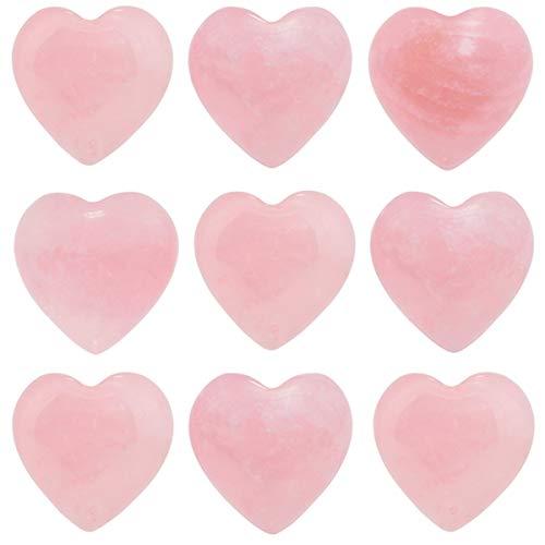 "TUMBEELLUWA Healing Stones Carved Heart Puff Love Crystal Chakra Worry Reiki Pocket Palm Stone Pack of 15,Rose Quartz,0.5"""