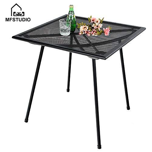 MF STUDIO 27 Black Bistro Garden Mesh Table Patio Metal Steel Square Dining Table for Backyard, Top Outdoor Coffee Table, Black