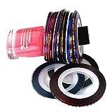 Nail Art Striping Tape Striper Line Decoration Set Kit of 10 Rolls By Cheeky