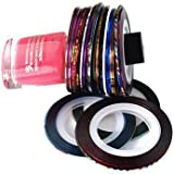 Nail Art Striping Tape Striper Line Decoration Set Kit of 10 Rolls By Cheeky