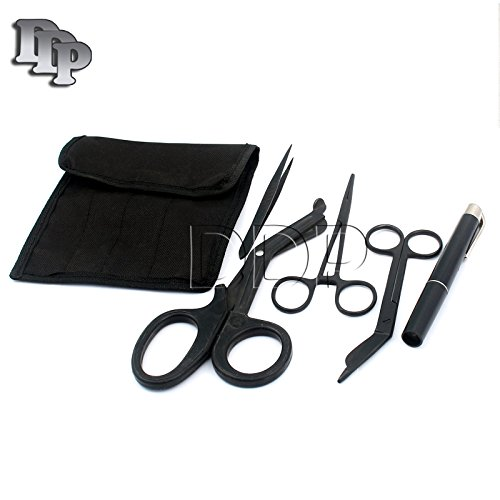 - DDP FIRST RESPONDER SHEARS EMT/SCISSORS COMBO PACK WITH HOLSTER, TACTICAL ALL BLACK