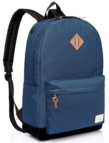 (Kasqo Travel Backpack for Men and Women Fits 15.6 inch Laptop Water Resistant School Bag Classic Backpack Bookbag Sport Bag Navy Crosshatch)