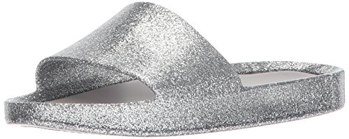Mini Melissa Girls' Mel Beach Slide Flat Sandal, Silver Glass Glitter, 12 Regular US Little Kid