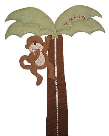 Amazon Palm Tree And Monkey Personalized Fabric Growth Chart Baby