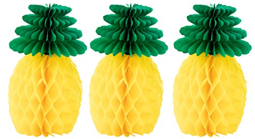 Tropical Party Decoration - 3-Piece Pineapple Honeycomb Decoration Centerpiece for Luau Hawaiian Parties, Kids Birthday Party Supplies, Green and Yellow, 6 x 6 x 12 -