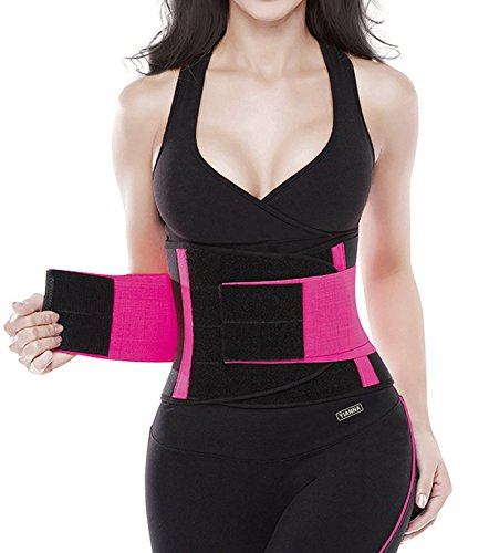 YIANNA Waist Trimmer Belt Underbust Back Support Adjustable Abdominal Elastic Waist Trainer Hourglass Body Shaper For Weight Loss, YA8002-Rose-S (Simple Hourglass)