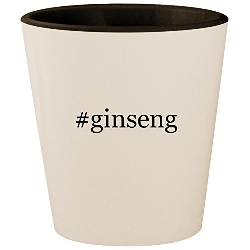Red Chinese Alcohol Ginseng (#ginseng - Hashtag White Outer & Black Inner Ceramic 1.5oz Shot Glass)