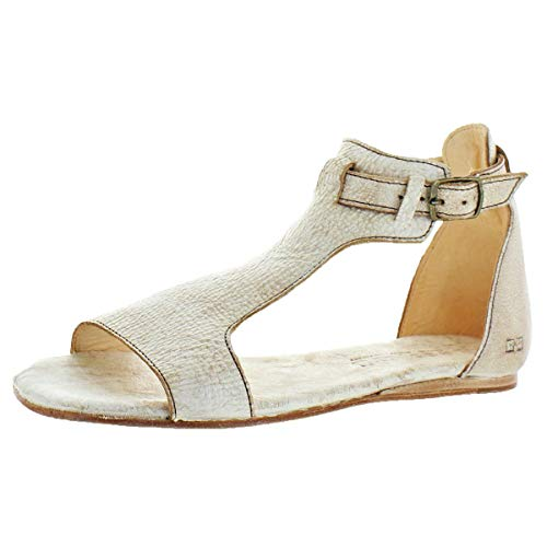 Bed|Stu Women's Sable Distressed Leather Flat Sandals Shoes Ivory Size 9 ()
