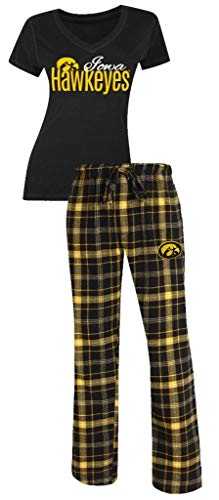Iowa Hawkeyes NCAA Women's Shirt and Pajama Pants Sleep Set Large 12-14