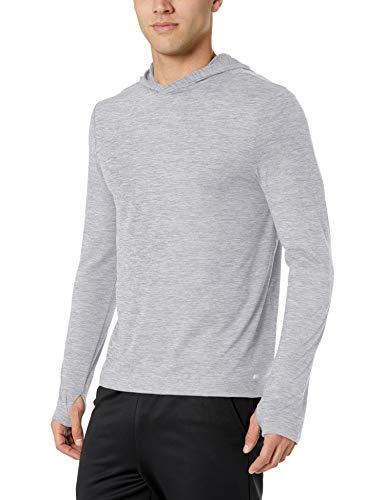 Amazon Essentials Men's Tech Stretch Long-Sleeve Performance Pullover Hoodie, Light Grey Space dye, XX-Large