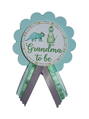 Grandma to Be Pin Dinosaur Baby Shower Pin for parents to wear, Blue & Green, It's a Girl, It's a Boy Baby Sprinkle ()