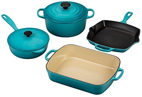 Le Creuset Signature 6-Piece Cast Iron Cookware Set, Caribbean